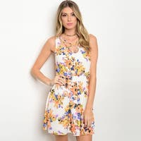 Shop The Trends Women's Sleeveless Lace Up Dress With Allover Floral Print And Smocked Waistline