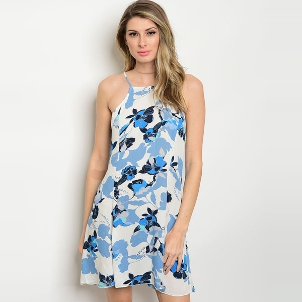 15713159f7 Shop The Trends Women's Spaghetti Strap Shift Dress With Allover Floral  Print