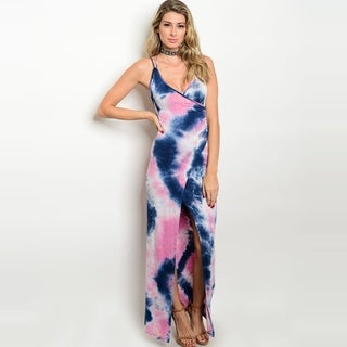 Shop The Trends Women's Spaghetti Strap Tie Dye Jersey Maxi Dress With Allover Tie Dye Print And Plunging Neckline