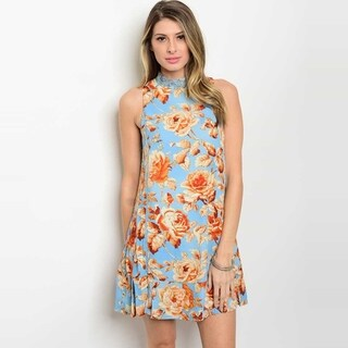 Shop The Trends Women's Sleeveless Tunic Dress With Allover Floral Print And Mock Neckline