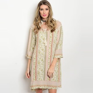 Shop The Trends Women's 3/4 Sleeve Tunic Dress With Crochet Lace Neckline And Allover Multicolor Print