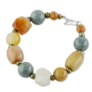 Jade and Cultured Pearl Beaded Bracelet, 'Mercy and Love' (Thailand)