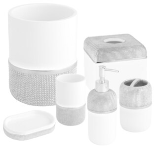 Ceramic Bath Accessory Collection Set or Separates - Silver/White (More options available)