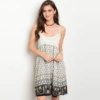 Shop The Trends Women's Spaghetti Strap Halter Neck Tunic Dress With Crochet Lace Bodice And Allover Detailed Print