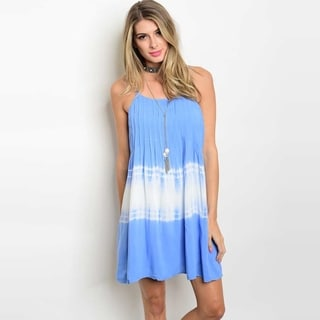 Shop The Trends Women's Spaghetti Strap Pleated Tunic Dress With Tie Dye Print And Scoop Neckline