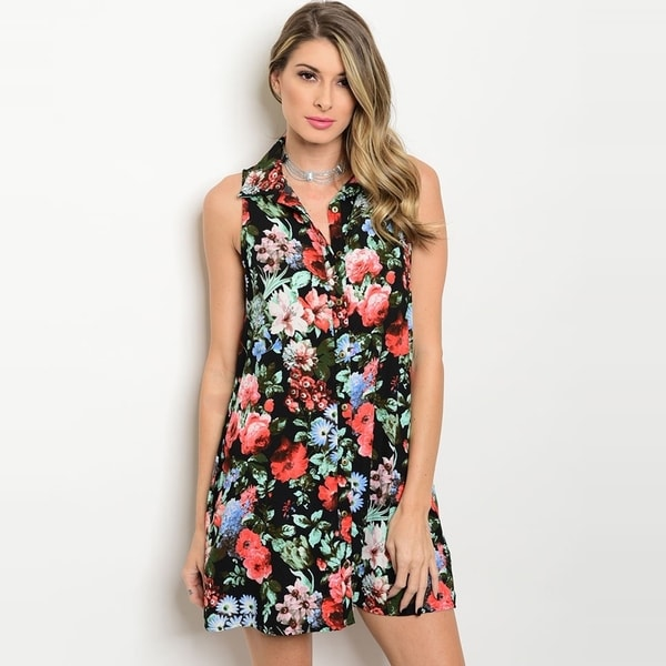 c000d98573b631 Shop The Trends Women  x27 s Sleeveless Button Down Shirt Dress With  Allover Floral