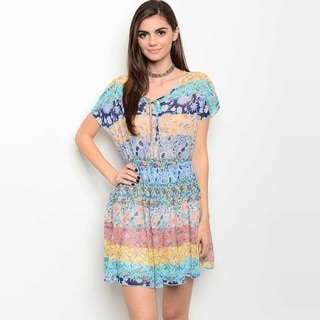 Shop The Trends Women's Short Sleeve Dress With Allover Multicolor Print And Self Tie Yoke
