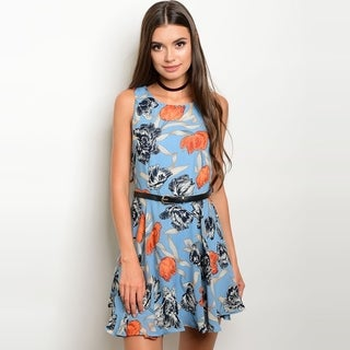 Shop The Trends Women's Sleeveless Fit And Flare Dress With Allover Floral Print And Skinny Belt