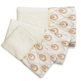 Seraphina 3-Piece Towel Set - Beige/Gold