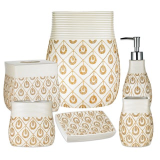 Seraphina 6 Piece Bath Accessory Set or Separates - Beige/Gold