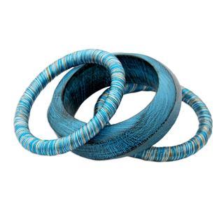 Handmade Set of 3 Wood Bangle Bracelets, 'Sky Over Sikkim' (India)