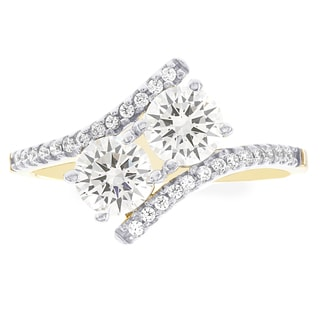 H Star 10k Yellow Gold Cubic Zirconia 2-stone Engagement Ring