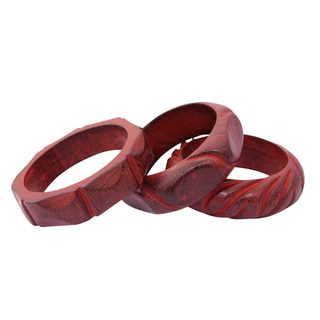 Handmade Set of 3 Wood Bangle Bracelets, 'Indian Romance' (India)