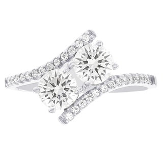 H Star 10k White Gold Cubic Zirconia 2-Stone Engagement Ring