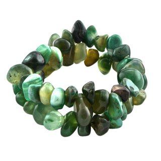 Handmade Pair of Agate Beaded Stretch Bracelets, 'Green Duo' (Brazil)