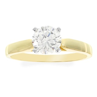 H Star 10k Yellow Gold Cubic Zirconia Solitaire Engagement Ring
