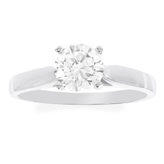 H Star 10K White Gold Cubic Zirconia Solitaire Engagement Ring