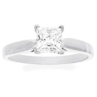 H Star 10k White Gold Princess-cut Cubic Zirconia Solitaire Engagement Ring