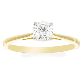 H Star 10k Yellow Gold 4.5mm Cubic Zirconia Solitaire Engagement Ring