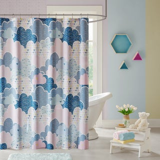 Urban Habitat Kids Bliss Blue Cotton Printed Shower Curtain