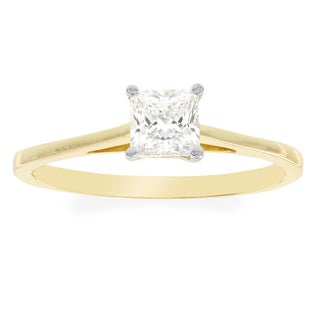 H Star 10k Yellow Gold Princess-cut Cubic Zirconia Solitaire Engagement Ring