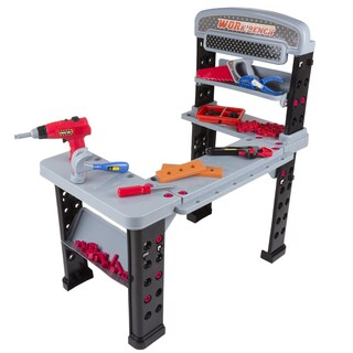 Hey! Play! Pretend Play 75-Piece Tool Set & Adjustable Workbench