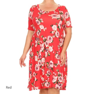 Women's Plus Size Rose Pattern Dress