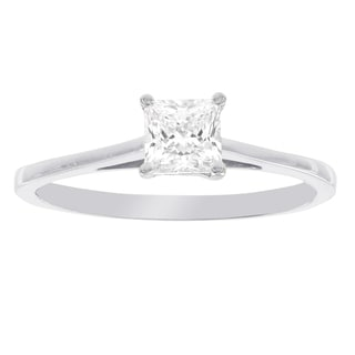 H Star 10K White Gold Cubic Zirconia Princess Cut Solitaire Engagement Ring