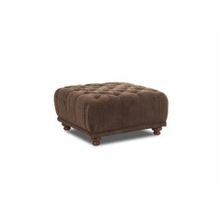 Klaussner Furniture East Hampton Brown Square Tuffted Ottoman