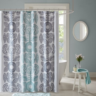 Urban Habitat Teo Blue Cotton Printed Shower Curtain