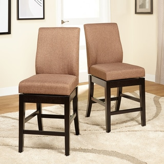 Simple Living 24-inch Villa Parson Swivel Counter Height Stools (Set of 2)