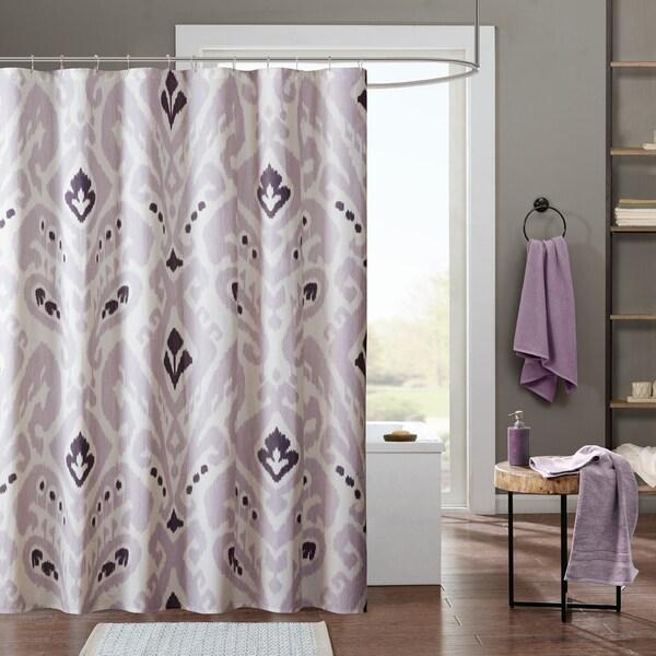 INK+IVY Sasha Lavender Cotton Printed Shower Curtain