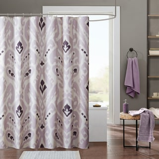 INK+IVY Sasha Lavender Cotton Printed Shower Curtain