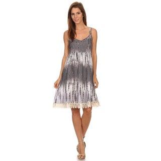 Women's Rayon and Spandex Tie-dye Spaghetti Strap Midi Dress