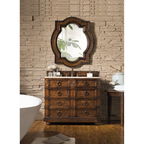 Regent 41-inch Galala Beige Marble Top Brown Single Vanity