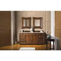 Regent 71-inch Galala Beige Marble Top Brown Double Vanity