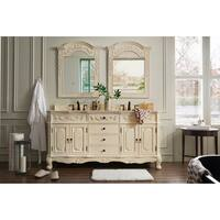Naples 72-inch Galala Beige Marble Top Antique White Double Vanity