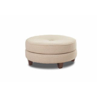 Klaussner Furniture Pippa Tan Round Transitional Ottoman
