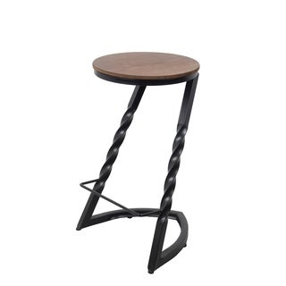 Privilege Black/Brown Iron and Wood Barstool
