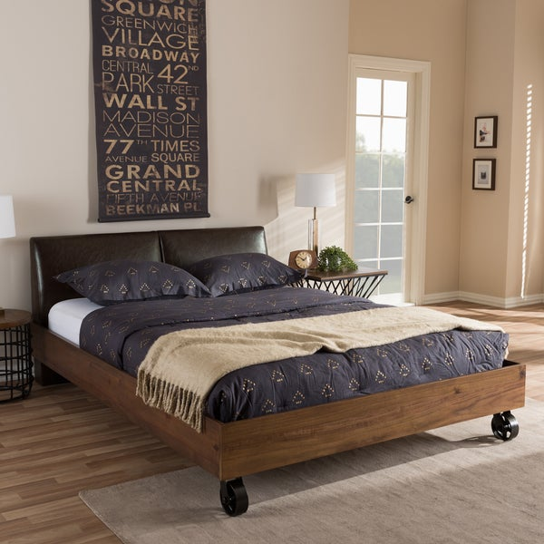 Shop Industrial Dark Brown Faux Leather Bed By Baxton