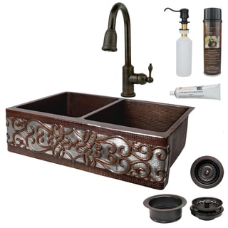 Premier Copper Products Hammered Copper Apron Front Double Basin Kitchen Sink, Faucet, and Accessories Package