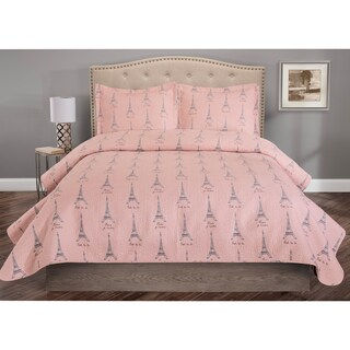 Whimsical Microfiber Paris Print 3-piece Quilt Set (Options: Pink, Twin)