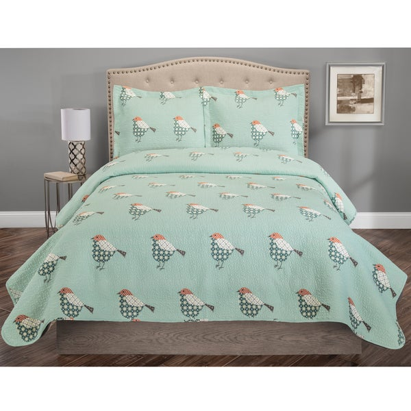 Whimsical Sparrow Print 3-piece Quilt Set