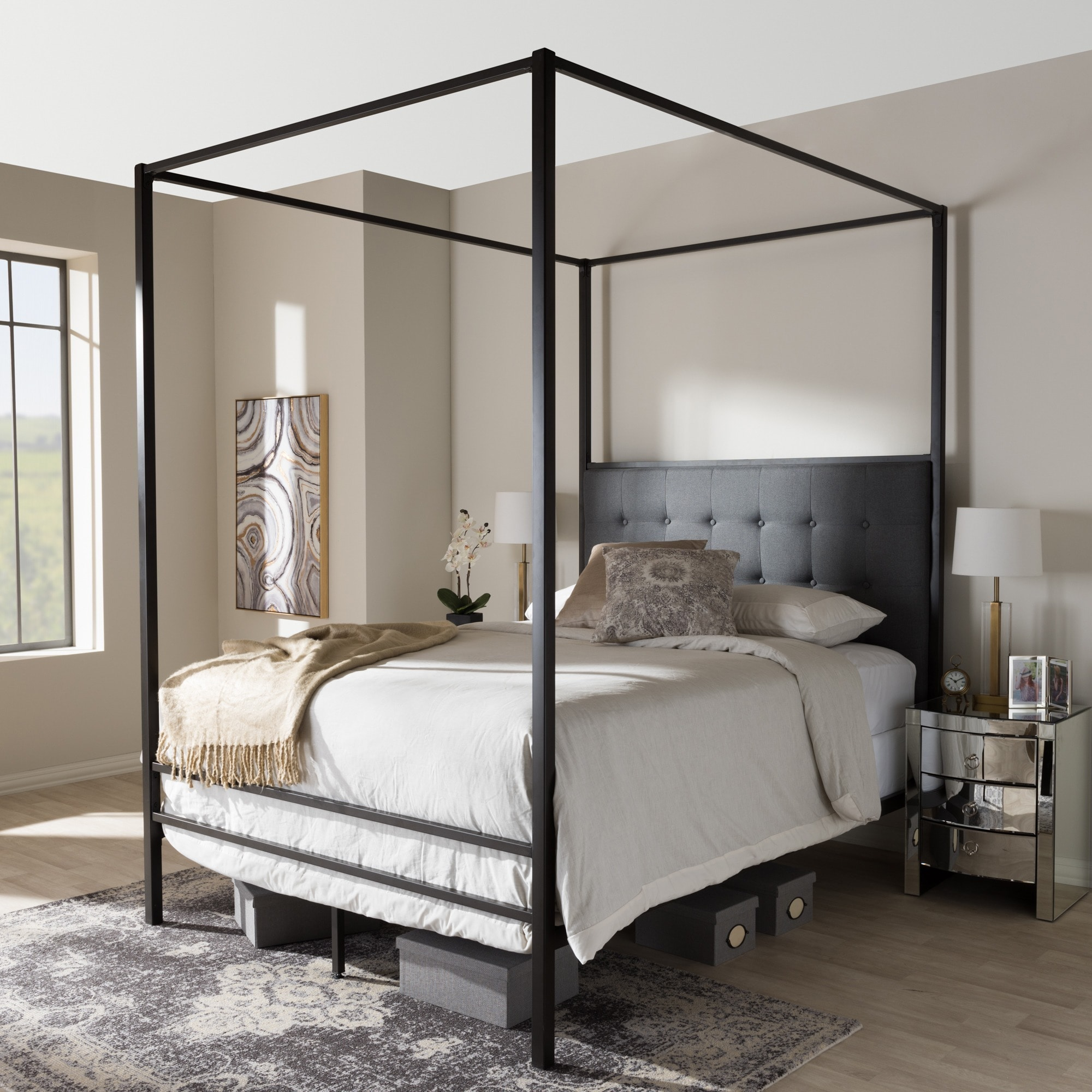 Industrial Black Canopy Bed by Baxton Studio (Queen Size-...