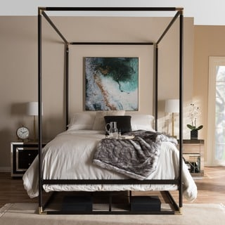 Industrial Black Canopy Bed by Baxton Studio Size - Queen