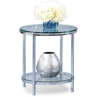 Patinoire Round Modern Glass-top End Table