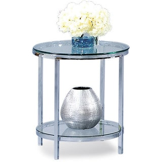 Patinoire Round Modern Glass Top End Table