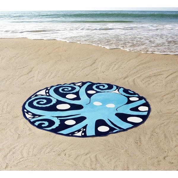 Seedling by Thomas Paul Octopus Round Beach Towel