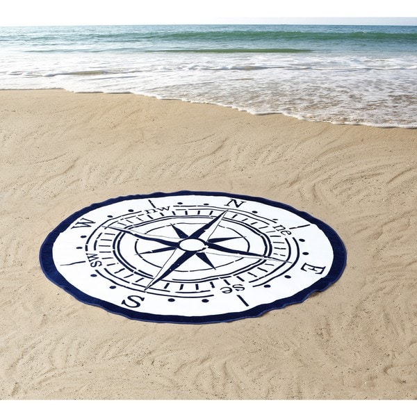 Seedling by Thomas Paul Compass 100% Cotton 60 Inches Round Beach Towel