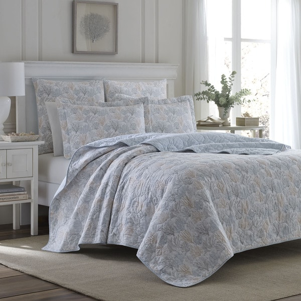 Laura Ashley Coral Sea Grey Quilt Set